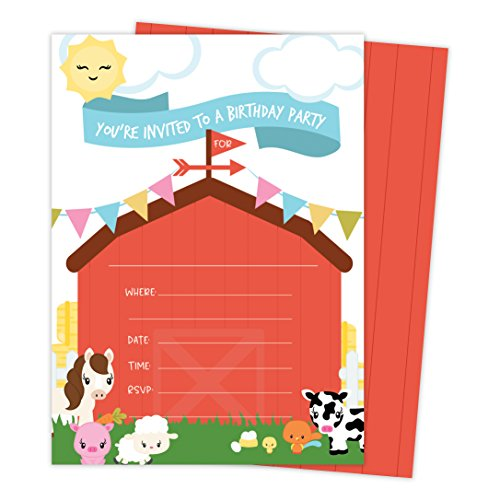Barnyard Farm Style 1 Happy Birthday Invitations Invite Cards (25 Count) with Envelopes & Seal Stickers Boys Girls Kids Party (25ct)