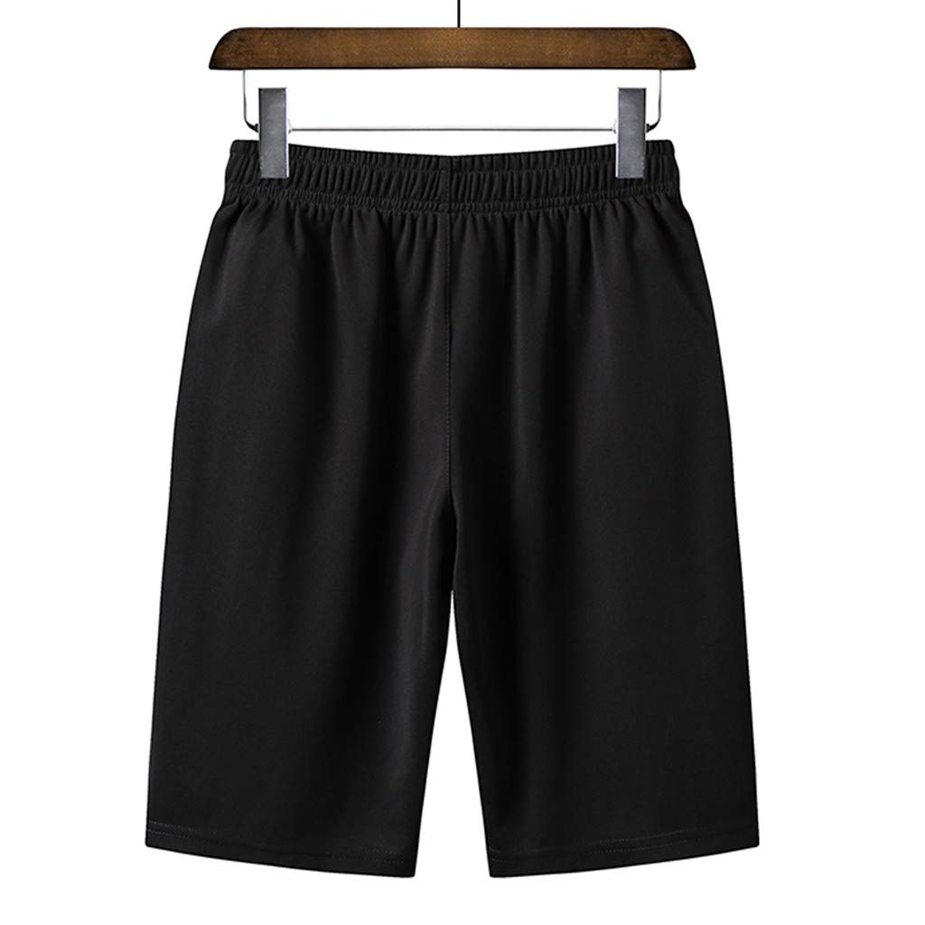 NUWFOR Men's Summer Plus Size Thin Fast-Drying Beach Trousers Casual Sports Short Pants(Black,US S Waist:31.5'') by NUWFOR (Image #2)