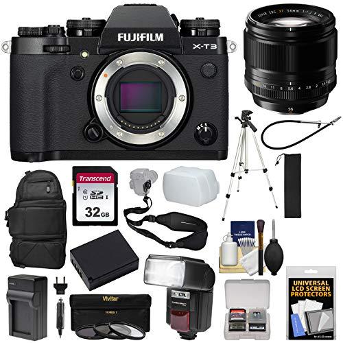 Fujifilm X-T3 4K Wi-Fi Digital Camera Body (Black) with 56mm f/1.2 XF Lens + Backpack + 32GB Card + Battery & Charger + Tripod + Flash + Kit
