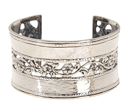 Paz Creations ♥925 Sterling Silver Hammered & Floral Lace Cuff Bracelet, Made in Israel (8) by PZ