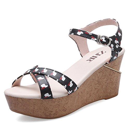 Summer Épaisse Shoes Talons plat Sandals Casual chaussures Sandales À De bande Hauts Wedge A Semelle rr0qza4W