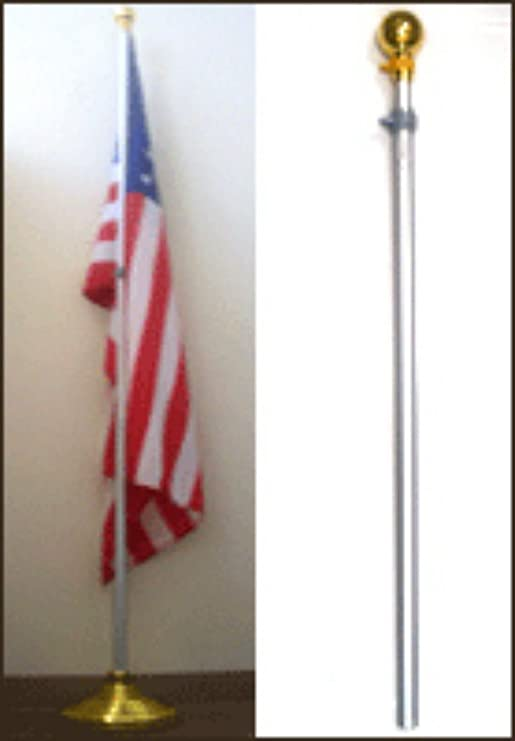 no flag 8ft Aluminum Banner Residential Indoor Flag Pole Gold Ball with base