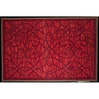Kashi Home Normandy Collection Contemporary Geometric Inspired Decorative Accent Egyptian Area Rug, Burgundy, 20 x 30