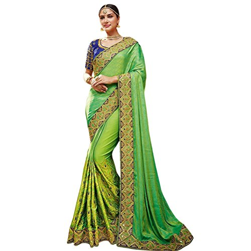 hnic Wedding And Party Wear Heavy Handwork Designer Sari Free Size Green ()