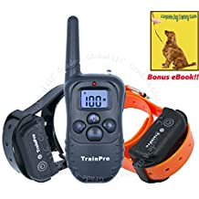 TrainPro Elite 330 Yard Dual Rechargeable Waterproof Dog Training Collars with 2016 Blue LCD Remote Control with Backlit Buttons. Safely Train Two 2 Dogs Same Time. Best for Large Medium Small Pets
