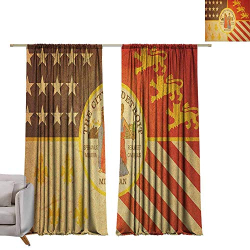 Thermal Insulating Blackout Curtain Detroit,Historical Old Symbol of Detroit City Rusty Looking Vintage Symbols Emblem Print, Multicolor W84 x L84 Waterproof Window Curtain