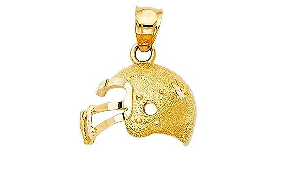 12mm x 16mm Million Charms 14k Yellow Gold Football Helmet Charm Pendant