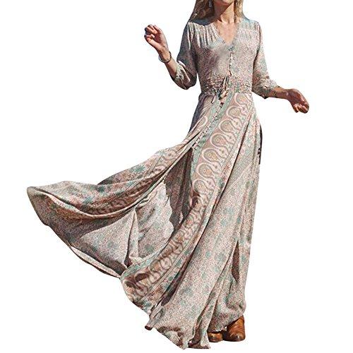 playa Escote Largo tamaño Vestir Maxi Vestir Línea V Noche Vestir Más 3 Mujer en Vestidos Floral Verano Impresión C1 Vestir Vestir UN Vestidos Vestir 4 Mujer Cóctel Fiesta Manga xU60OqI