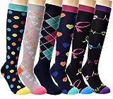 HTINXED Compression Socks Women & Men 20-30mmHg 6 Pairs - Graduated Knee High Socks - for Running,Sport,Medical, Athletic,Varicose Veins,Travel,Pregnancy,Nursing