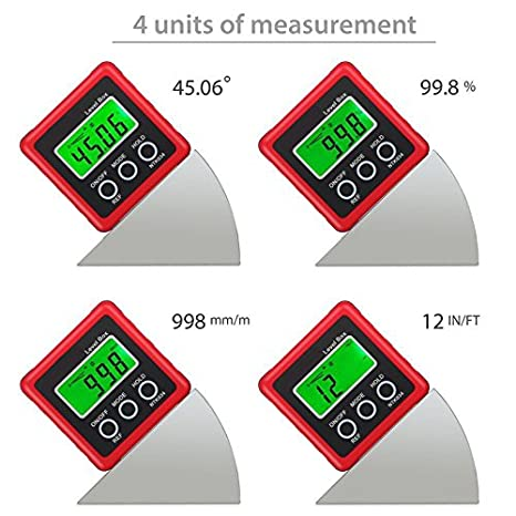 Bevel Angle Miter Saw IN//FT AUTOUTLET Digital Angle Level Gauge Protractor Inclinometer Angle Finder Bevel Box Magnetic Base 0-360/° 4 Units /°,/% Repair etc mm//m Pitch Helicopter