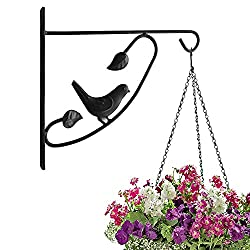 Amagabeli Hanging Plants Bracket 12'' Wall Planter Hook Flower Pot Bird Feeder Wind Chime Lanterns Hanger Outdoor Indoor Patio Lawn Garden for Shelf Shelves Fence Screw Mount against Door Arm Hardware