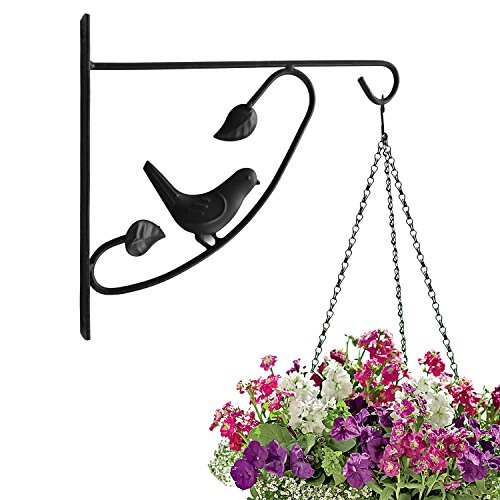 Brass Flower Light (Amagabeli 12'' hanging plant hooks forged mount against door fence deck garage balcony outdoor lawn cast iron bracket for planters bird feeder lanterns wind chimes plant pot basket with)