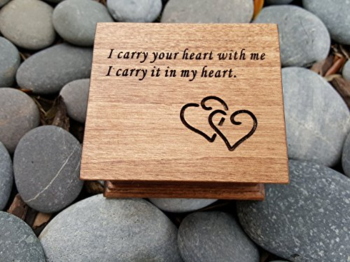 Custom made music box with I carry your heart with me engraved on top, perfect birthday gift for daughter or mom