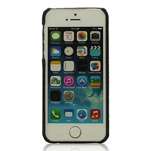 Animal Haut Korn Aussehen iPhone 5 Hülle - Schwarz, iPhone SE Hülle, iPhone 5S Hülle, Schutzhülle Handyhülle für iPhone 5 / 5S / SE, Metal Ring Entwurf Halter Funktion, Löwe Aussehen, Hart Starr Schwe