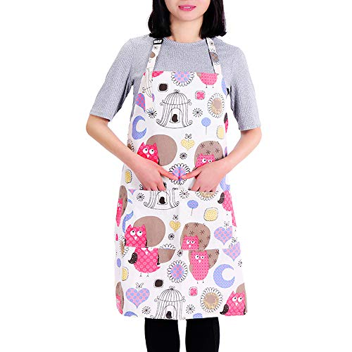 MissOwl Adjustable Bib Apron with Pockets Cooking Kitchen Apron for Women (Owl)