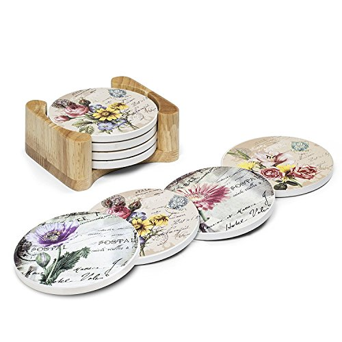 Coasters For Drinks Absorbent with Wooden Holder ,Set of 4 Different Flower Coasters with Cork Back, Use as Home Decor and Protect Furniture From Damage ()