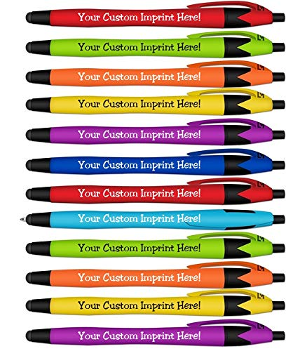 Ballpoint Soft Touch Personalized Ink Pens with Stylus Tip - The Jewel - Click action - Custom - Black writing - Printed Name - Imprinted - Your Logo/Message - FREE PERZONALIZATION (Assorted Colors)