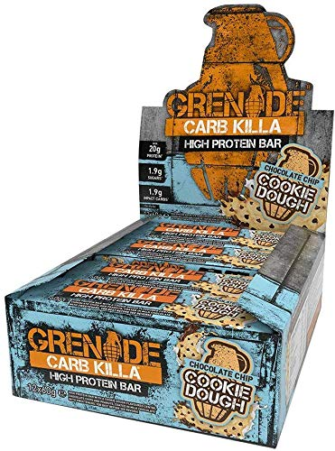 Grenade Carb Killa High Protein and Low Carb Bar, 12 x 60 g - Choc Chip Cookie Dough