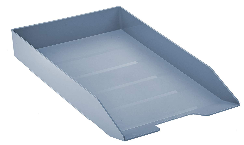 Acrimet Stackable Front Load Letter Size Tray Plastic Desktop File Organizer (Solid Blue Color) (1 Unit)