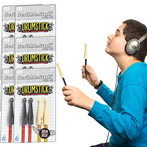 The Board Dudes (24 Count) Drumstick Pencil Topper Erasers Gift Bag Fillers Party Favors Bulk Pack
