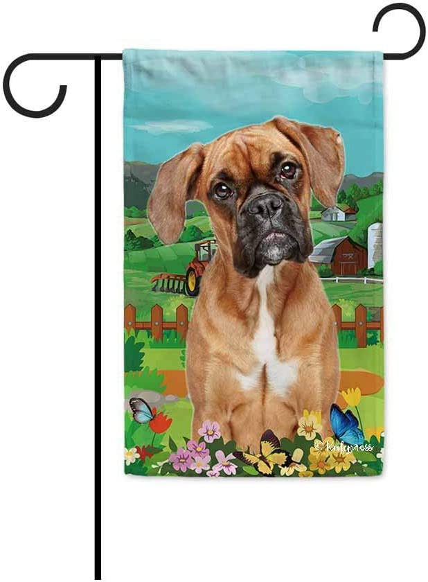 BAGEYOU Welcome Spring Summer Boxer in The Flowers Decorative Garden Flag Cute Dog Puppy Butterflies Farm Country Village Home Decor Banner for Outside 12.5X18 Inch Print Double Sided