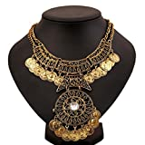 Creazy® Women Bohemian Festival Jewelry Double Chain Coin Statement Necklace (Gold)
