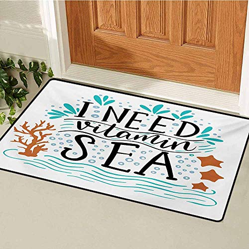 GUUVOR Sea Commercial Grade Entrance mat I Need Vitamin Sea Inspirational Quote Hand Drawn with Coral Waves Starfishes Bubbles for entrances garages patios W19.7 x L31.5 Inch Multicolor