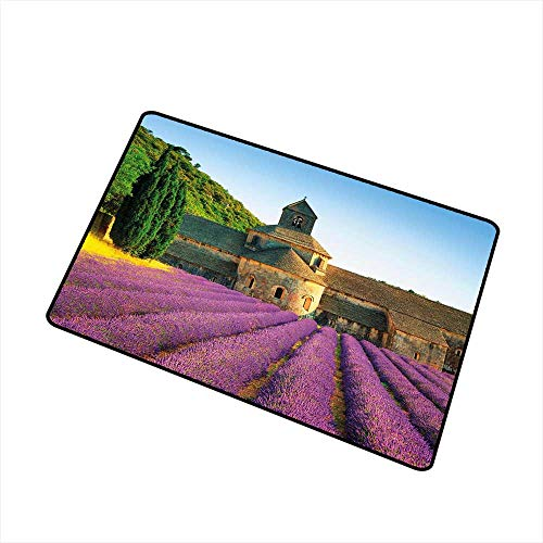 Doormat Entrance Mat Lavender,Abbey of Senanque in France Architecture Countryside Blooming Rows Scenic,Tan Violet Green,for Entry, Garage, Patio, High Traffic Areas,24