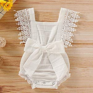 HINK 0-18 Months Boys Romper&Jumpsuit, Newborn Infant Baby Girl Boy Solid Lace Bow Romper Bodysuit Clothes Outfits, for…