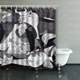 Shower Curtains Custom Decorative Guernica Spain October 10 2015 Tiled Picasso Art Design Waterproof Polyester Fabric Home Bathroom Decor Bath Curtain 66x72 Inches