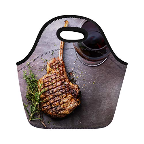 (Semtomn Lunch Bags Bbq Grilled Beef Barbecue Veal Rib Steak on Bone Neoprene Lunch Bag Lunchbox Tote Bag Portable Picnic Bag Cooler Bag)