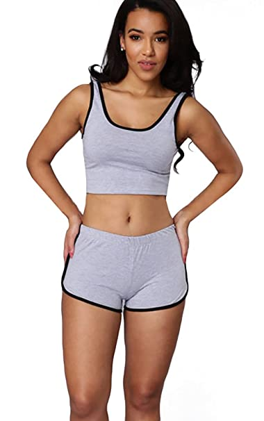 68aa0af9baab5 Honofash Tracksuit Women Set Girl 2 Piece Yoga Gym Tank Crop Top Shorts  Designer Plus Size Running Workout White XL Size 10 12 Fitness Sportswear   ...