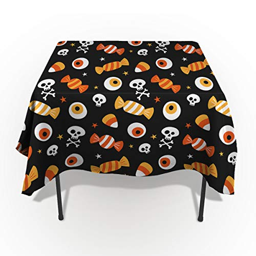 Rectangle Tablecloth - 60 x 120 Inch - Halloween Skull Eyeball and Candy Rectangular Polyester Table Cloth Table Covers Linen Decor - Great for Kitchen Table, Parties, Holiday Dinner, Wedding & More