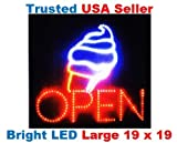 Large Open Ice Cream Cone Yogurt Signs Led Neon Business Motion Light Sign. Animated On/off, Power On/off, with Chain 19*19*1 Blt308