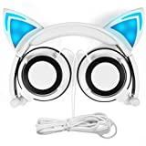 Cat Ear Headphones, DiceKoo Kids Headphones Flashing Glowing Cosplay Fancy Foldable Over-Ear Gaming Headsets for Boys,Girls,Children(White)