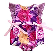 Ma&Baby Newborn Baby Girls Romper Flower Print Ruffles Bodysuit With Headband (0-6 Months)
