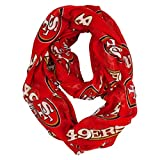 NFL San Francisco 49ers Sheer Infinity Scarf, One Size, Red