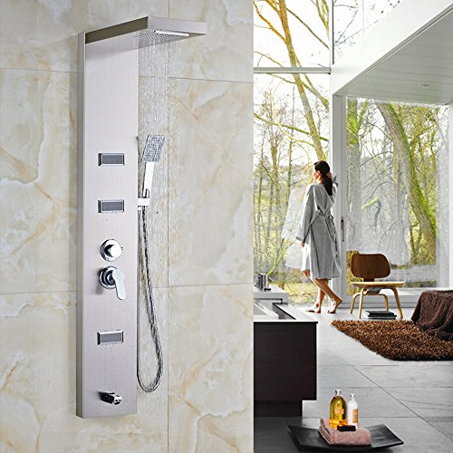 "Votamuta 55"" Stainless Steel Rain Waterfall, Massage Jets & Rain Style Hand Shower System Shower Panel 70%OFF"