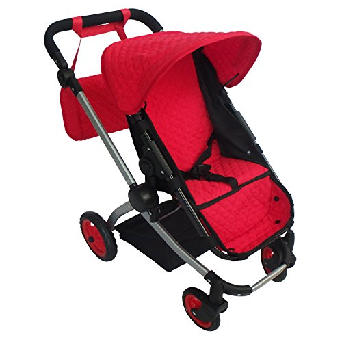 Modern Babyboo Doll Stroller Red Quilted Fabric- New Luxury Collection – Adjustable Height – Free Diaper Bag For Sale