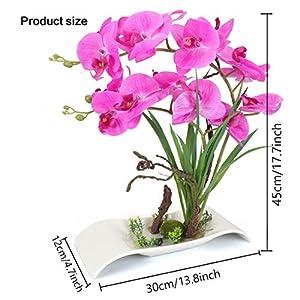 YOBANSA Big Size Orchid Bonsai Artificial Flowers with Imitation Porcelain Flower Pots Phalaenopsis Fake Flowers Arrangements for Home Decoration (Rose Red) 15