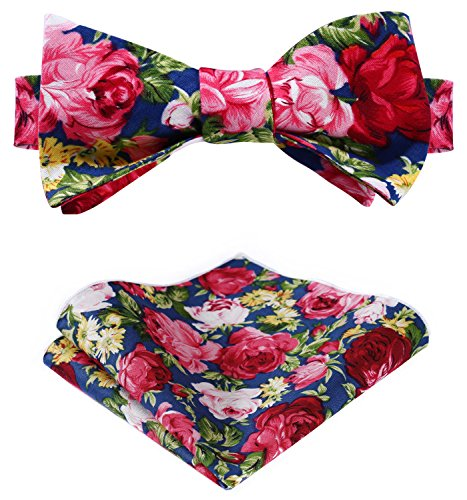 Tie Bow Floral - HISDERN Men's Cotton Floral Printing Self Bow Tie Set One Size Navy Blue/Pink