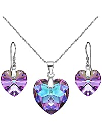 925 Sterling Silver Heart Bridal Necklace Earrings Set Made with Swarovski Crystals