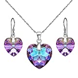 EleQueen 925 Sterling Silver Heart Bridal Necklace Earrings Set Vitrail Light Made with Swarovski Crystals