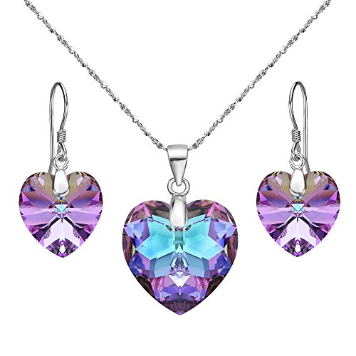 EleQueen 925 Sterling Silver Heart Bridal Necklace Earrings Set Vitrail Light Made with Swarovski Crystals by EleQueen