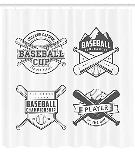 (Lohebhuic Sports Shower Curtain College Baseball Logos Vintage Greyscale Composition of Labels of Teams Cloth Fabric Bathroom Decor Set with Hooks,47.58