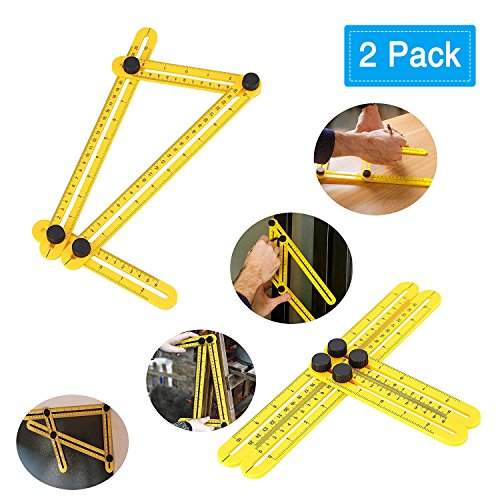 GOSTAR Flexible Ultimate Multi-Angle Four Sides Measure Ruler Template Layout Tools for Wood Work, Building, Tile & Flooring Measure for Builder Craftsmen Carpenters Architects Designers 2 Pack Yellow