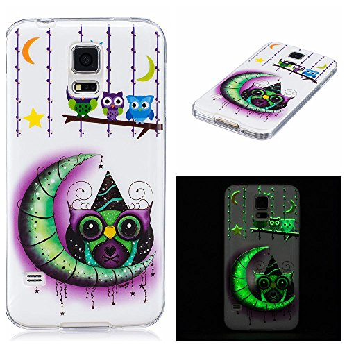 Galaxy S5 Case, Firefish Night-luminous Glow In The Dark Fluorescence Soft Gel Anti Skiding Silicone Cell Phone Back Cover for Samsung Galaxy S5-Monster