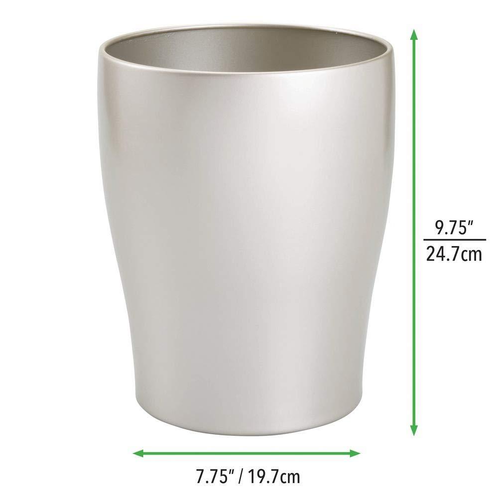 Argento Opaco MetroDecor mDesign Cestino Spazzatura Rotondo in Metallo Ideale Come pattumiera differenziata o Come Contenitore rifiuti Ufficio