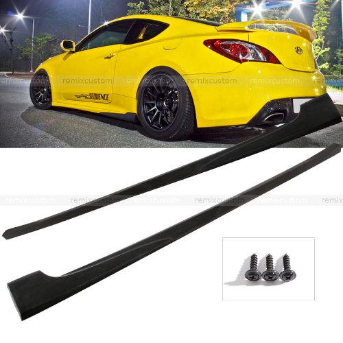Remix Custom For 2010-2014 Hyundai Genesis 2DR Coupe PU Add-on Side Body Skirt Kit