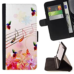 For LG Nexus 5 D820 D821 Music Notes Pink Flowers Butterflies Nature Style PU Leather Case Wallet Flip Stand Flap Closure Cover